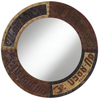 "Metal License Plate 28"" High Round Wall Mirror   #X3613"