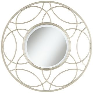 "Open Circles 28 1/2"" High Silver Wall Mirror   #W4090"