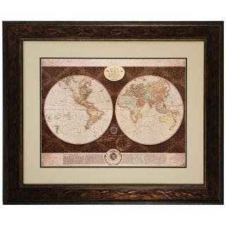 """36"""" Wide Framed World Map Wall Art   #V6954"""