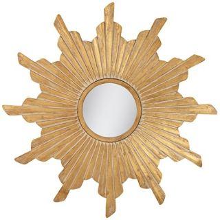 Vela Distressed Gold Sunburst Wall Mirror   #X3070