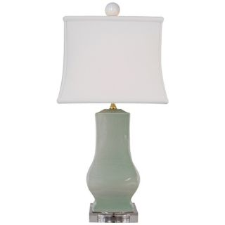 Celadon Crackle Square Urn Porcelain Table Lamp   #N2132