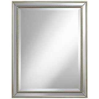 "Beaded 32"" High Antique Silver Wilton Wall Mirror   #X6447"