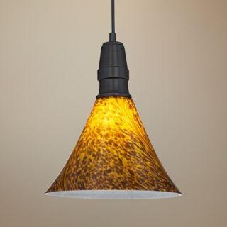 "Bronze Art Glass 11"" Wide LED Mini Pendant Light   #V6367"
