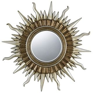 "Sunburst 45"" Wide Gold and Silver Wall Mirror   #X6930"
