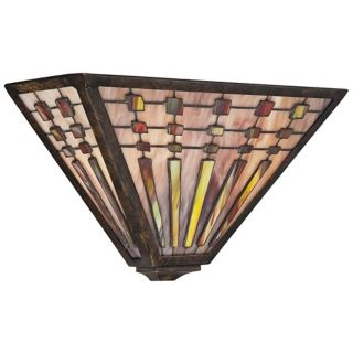 "Quoizel Banks 14"" Wide Tiffany Bronze Wall Sconce   #W0663"