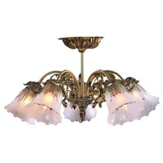 "Victorian Brass 17"" Wide Semi Flushmount Ceiling Fixture   #G6380"