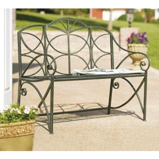 Black Moss Iron Garden Bench   #P5920