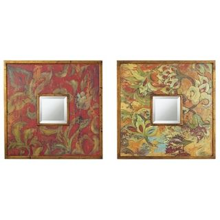"Uttermost Set of Two Colorful Flowers 19"" Wide Wall Mirrors   #52808"