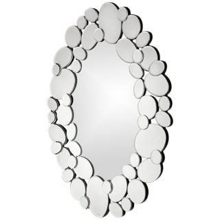 "Stratus Mirrored Pebbles 22"" High Oval Wall Mirror   #R2030"