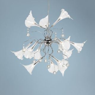 "Possini Clear Floral Art Glass 23"" Wide Pendant Chandelier   #P4733"