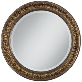 "Gold Floral Relief 25 3/4"" Wide Round Wall Mirror   #V0427"
