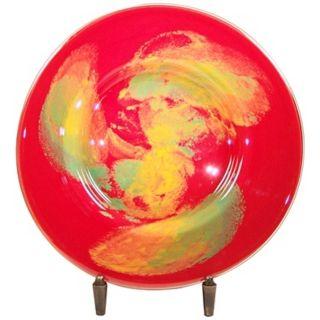 Dale Tiffany Orange Burst Art Glass Charger   #X4899