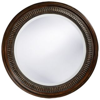Antique Brown Beaded Round 26 Wide Wall Mirror   #H5534