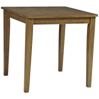 Small Square Oak Finish Solid Wood Dining Table   #U4182