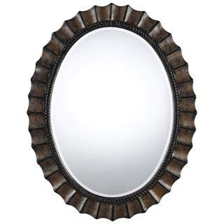 "Sycamore Dark Bronze 35"" Oval Wall Mirror   #X6913"