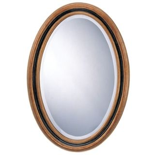 "31"" High Antique Gold and Black Oval Mirror   #N7181"