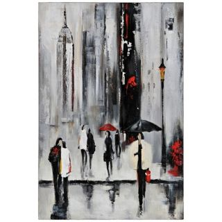 """Bustling City I 34"""" Square Hand Painted Wall Art   #Y2802"""