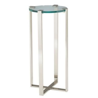 Uptown Polished Nickel & Glass Plant Stand   #T2249