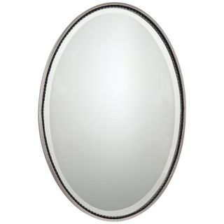 "Quoizel Larchmont Nickel 32"" High Oval Wall Mirror   #X5892"
