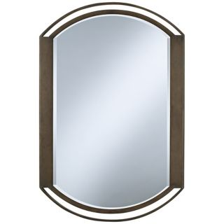 "Rounded Openwork Bronze Finish 36"" High Wall Mirror   #U0062"