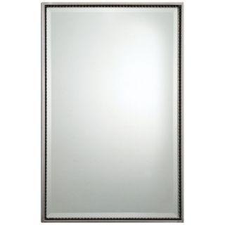 "Quoizel Larchmont 33"" High Rectangular Nickel Wall Mirror   #X5890"