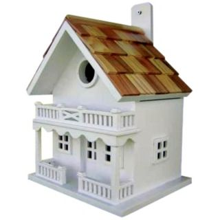 White Two Story Cottage Bird House   #H9679