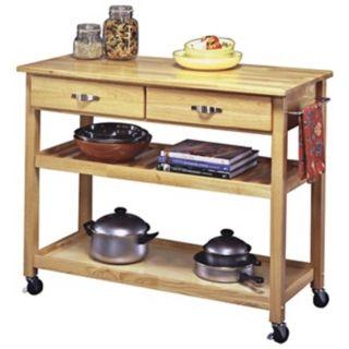 Natural Finish Solid Wood Slotted Shelf Kitchen Cart   #U0392