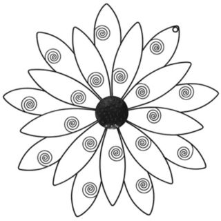 Black Flower Metal Wall Art Piece   #N3167