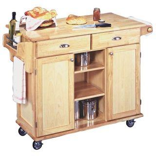Napa Solid Wood Natural Finish Rolling Kitchen Center   #U0391