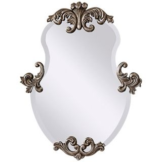 "Murray Feiss Venice Silver 35"" High Curved Wall Mirror   #X5734"