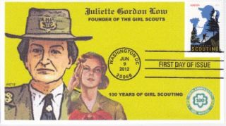 CACHETS   GIRL SCOUTS 100 YRS JULIETTE LOW FIRST DAY COVER FDC TOPICAL