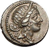 Julius Caesar. Silver Denarius, 47B.C. Venus/Aeneas carrying Anchises