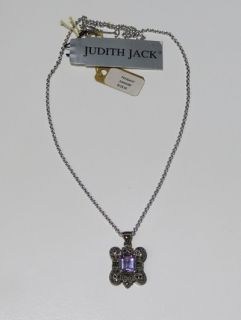 New Judith Jack Silver Chain w Amethyst Stone Pendant Necklace Jewelry