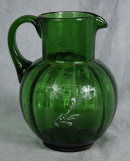 L161 HD Blown Painted 1920s Bohemian Mary Gregory Emerald Green Optic