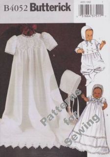 Pattern Butterick Sewing Baby Infant Christening Dress Jumpsuit Hat