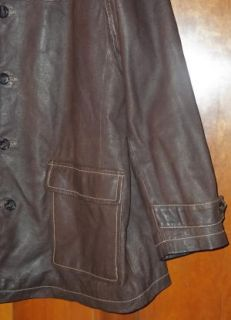 Julian Wilsons Brown All Leather Car Coat Jacket XL