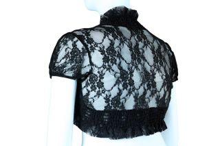 Junior Plus Black Lace Shrug Bolero Sweater