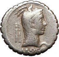 Roman Republic Juno Virgin Test 64BC Ancient Silver Coin Juno Serpent