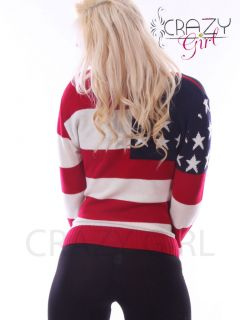 American USA FLAG Print KNITTED JUMPER TOP Long Sleeve Dress Size 8 16