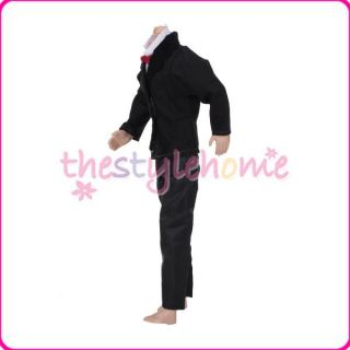 Prom Suit Black and White Jumpsuits Coat w Red Tie for Male Ken Barbie