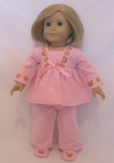 clothes Pink Butterfly trim pajamas slippers fits American Girl Julie