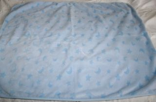 Just Born Light Blue Plush Baby Blanket Stars Moon 37 x 29 Soft