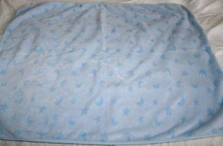 Just Born Light Blue Plush Baby Blanket Stars Moon 37 x 29 Soft