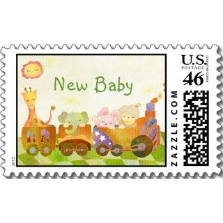 Baby Animals on Choo Choo Train New Baby Postcard