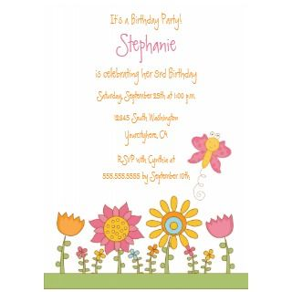Cute butterfly flowers birthday party invitation invitation