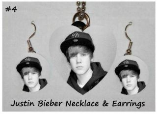 Justin Bieber Photo Charm Necklace Earring Set 4