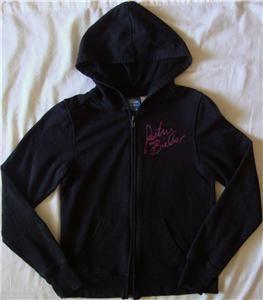 Girls Justin Bieber Zip Up Black Hoodie Sweater Jacket Clothes L 10 12