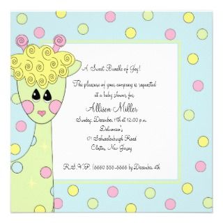Giraffe Blue Gender Neutral Baby Shower Invitation