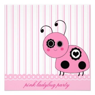 Pink Ladybug Birthday Party Invitation