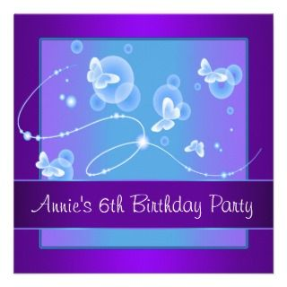 Purple Butterfly 6th Birthday Party Invitation 6th